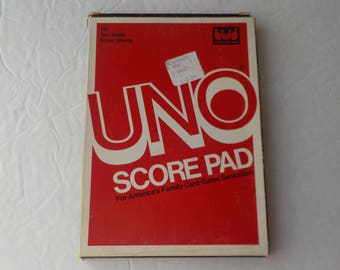 Uno Score Pad 100 Two Sided Score Sheets International Games 1983 Classic Card Game