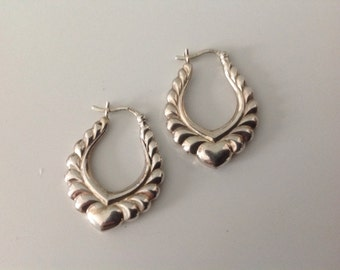 STERLING Puff Hoop 1980's Earrings with Hearts | Gift for her | Valentines Gift