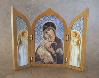 Blessed Virgin Mary with Angels Triptych Shrine Our Lady of Vladimir with angels icon