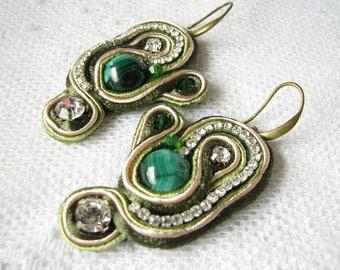 Malachite earrings Green earrings Mother Gift for Wife Stone Earrings Semi Precious earrings Dangles earrings Malachite jewelry Xmas gift