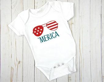 Merica fourth of july baby boy onesie