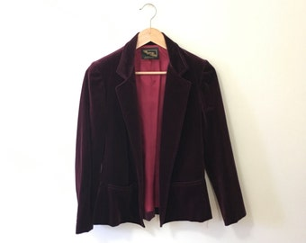 Vtg velvet blazer jacket in plum