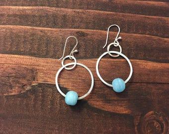 Sterling Sliver Hoop Earrings, modern hypoallergenic earrings, birthday gift for her,  frosted blue glass  .925