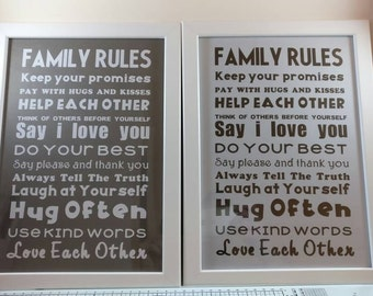 Family Rules A4 Frame