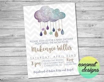 Baby Shower Invitation / Watercolor Cloud Baby Shower Invitation / Baby Sprinkle / Baby Shower Clouds / Gender Neutral / Digital File