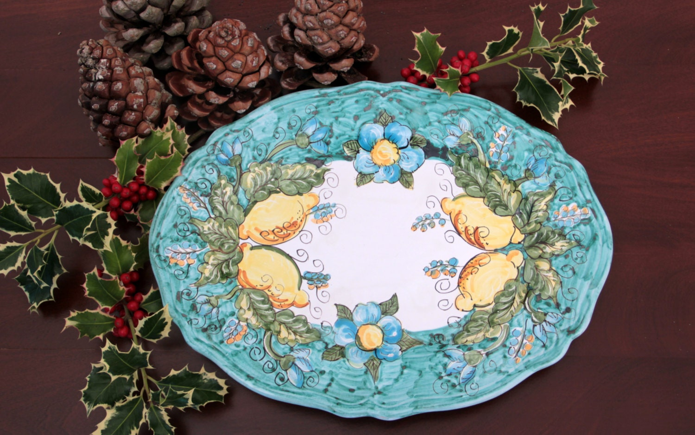 ceramics lemon plate Italian majolica art by MaiolicaPatrizia