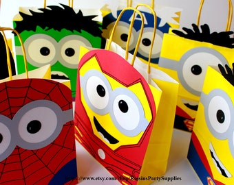 Minion Superheroes favor bags - inspired birthday party decorations ( Hulk Captain America Batman Ironman Spiderman ) Goody bag Party bags