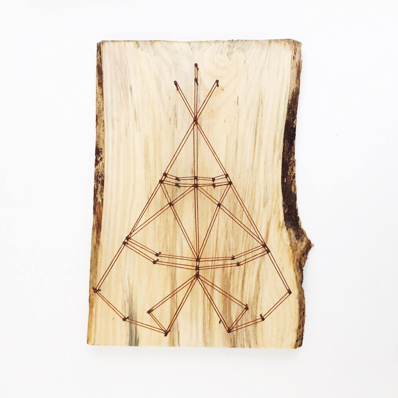 TeePee String Art, Live Edge Art, Live Edge Decor, Cottage Decor ...