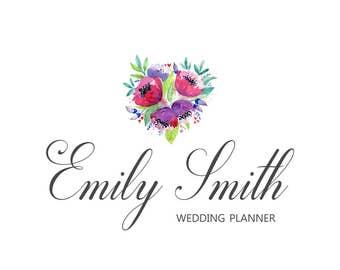 Floral Logo, Calligraphy Logo, Flower Logo, Premade Flower Logo, Watercolor Logo, Wedding Planner Logo, Photography Logo, Feminine Logo