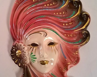 Vintage Ceramic Italian Wall Mask