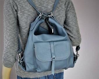 LEATHER BACKPACK Blue Leather PURSE Multi Way Rucksack Tote Bag Blue Leather Shoulder Bag.