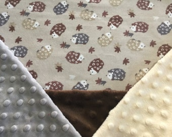Personalized Minky Baby Blanket, Brown and Tan Hedgehogs Minky Baby Blanket