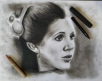 Original Charcoal Sketch of Princess Leia