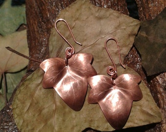 Handmade copper earrings with ivy leaves in ancient Celtic style