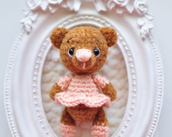 Super cute teddy bear. miniature Teddy bear in dress. Blythe friend teddy bears miniature teddy bea. crochet teddy bear. ooak teddy bear