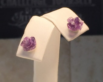 Raw Amethyst Earrings/Upcycled Raw Amethyst and Sterling Silver Stud Earring./Free Shipping in the US.
