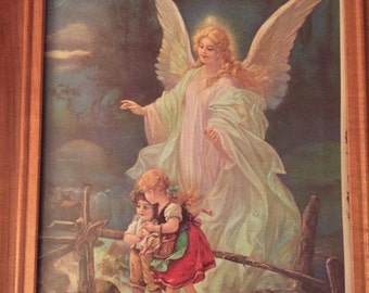 Guardian Angel with Children on Bridge, Guardian Angel Picture with Frame, Children's Wall Art,  11 X 13 Art, Childrens Room Decor