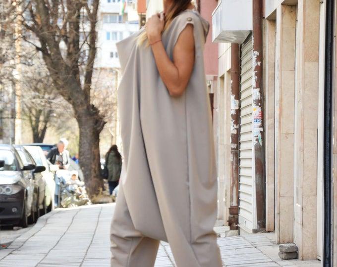 Plus Size  Beige Women's Jumpsuit, Drop Crotch Wide Jumpsuit, Loose Casual Jumpsuit With Zipper by SSDfashion