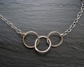 Interlocking Circles, Hammered Sterling Silver Necklace, Rustic Circle Necklace