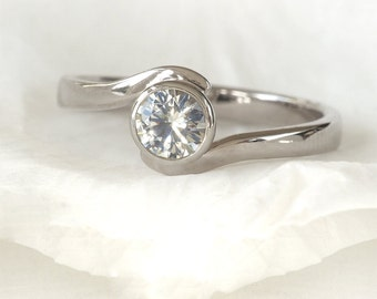White Sapphire Swirl Engagement Ring - 18k Gold or Platinum - Eco Friendly - Handmade to Size