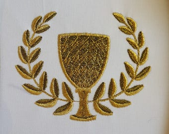 Victory Cup Embroidery Design / Machine Embroidery / Cup and laurels / Gold embroidery / trophy design