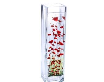 Handmade Fused Glass Art - Poppy Vase