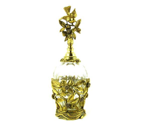 Matson Ormolu Perfume Bottle, 24 Karat Gold Plated Filigree Circa 1950s