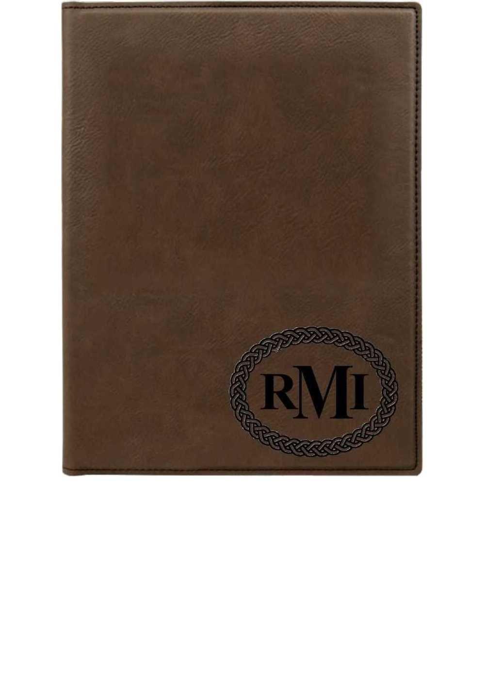 personalized faux leather portfolio 2 dark brown with zipper