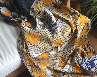 Vintage Kantha Quilt, Handmade Kantha Throw, Boho Home Decor, Kantha Blanket