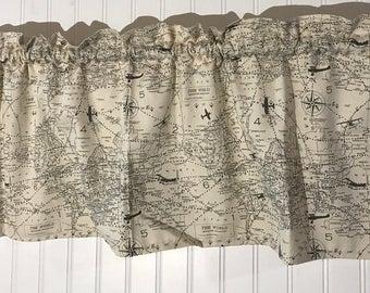 Air traffic air control airplane map curtain valance