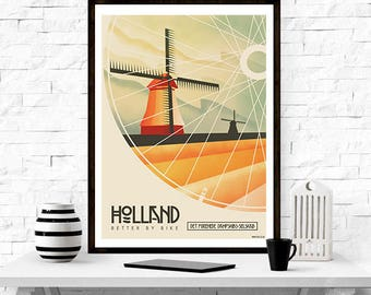 Holland Travel Poster - vintage poster, wall art, home decor, travel poster,retro, graphic design, illustration