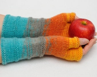 Knit Fingerless mittens Winter gloves Womens gift for her fingerless gloves Arm Warmers Anniversary gift for wife Orange knit Sister gift