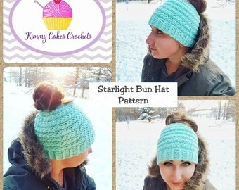 Messy Bun Crochet Hat Pattern - Messy Bun Beanie - Crochet Ponytail Hat - Crochet Pattern - Starlight Bun Hat - Crochet Hat Pattern