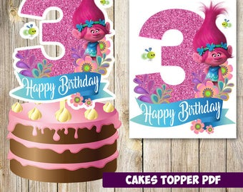 Trolls cakes toppers 3rd instant download, Printable Trolls party Cakes Topper 3rd, Logo Trolls Party, Trolls  Cakes Topper 3rd