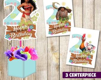 3 Moana centerpieces, Moana printable centerpieces, Moana 2, Moana party supplies, Moana birthday, Favors, decorations, Moana printable