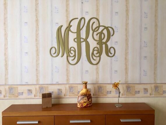 Gold Monogram Vine Script Monogram 3 Letter monogram Wedding Decor Large Custom Wood Wedding monogram Wall Door Hanger Initials Wall hanging