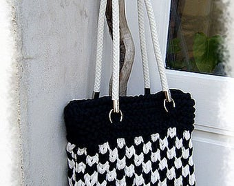 Checkerboard knitted cotton recycled handbag