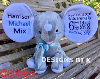 Personalized birth announcement elephant - Birth announcement - Birth announcement elephant - Personalized gift - Baby shower gift