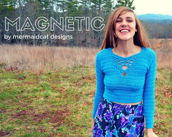 Crochet crop top sweater pattern with detailed neck -Magnetic