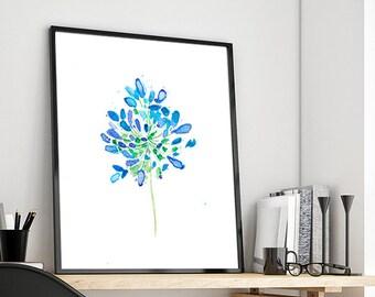 Blue flower home decor, watercolor blue flowers art prin, floral wall art, gift for women, watercolour blue, botanical print - 3