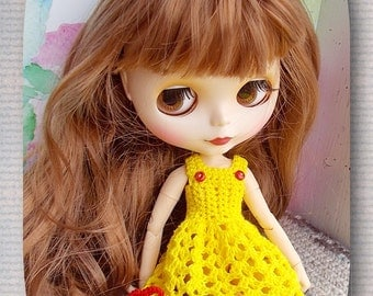 Crocheted dress the doll Blythe + hand-knitted sweater FREE SHIPPING SALE