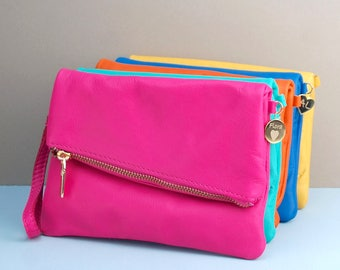 Personalised Leather Zip Clutch, Leather Clutch Bag, Bespoke Bag, Coloured Leather Bag, Wedding Gifts, Birthday Gifts, Bridesmaid Bag