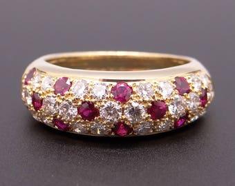 Beautiful 18k Yellow Gold 1.20ct Round Cut Ruby Diamond Pave 7mm Dome Band Ring Size 5.75