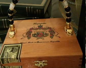 Cigar Box Couture Box Purse with Beaded Handle