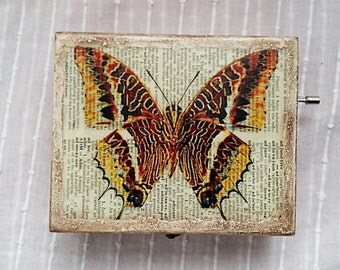 Wooden music box, Box with butterfly, Music box with butterfly, Music box, Decorative box, Gift box, Vintage jewelry box, Wooden box,
