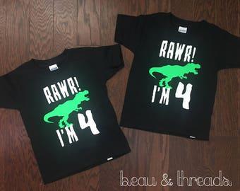 Rawr I'm 4 dinosaur shirt