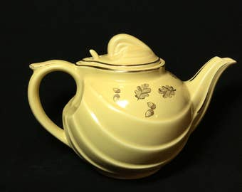 Yellow Hall 6 Cup Teapot with Gold Acorn and Leaf Inlay Design