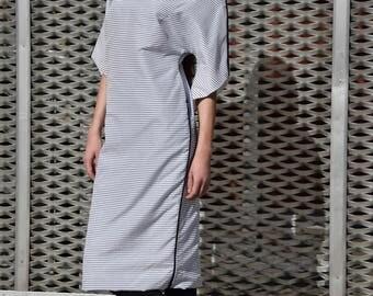 White dress/cotton dress/women dress/cotton suit/dress black lines