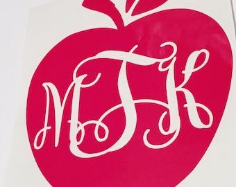 Apple monogram decal-teachers