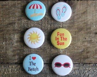 Beach Magnets - Fridge Magnets - Beach House Decor - Cute Ceramic Magnets - 1 Inch Magnets - Set of 6 - Party Favor - Button Magnets - M03